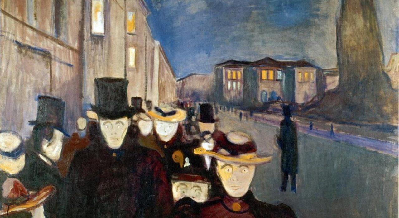 Imagem: Karl Johan ao Anoitecer (Edvard Munch)