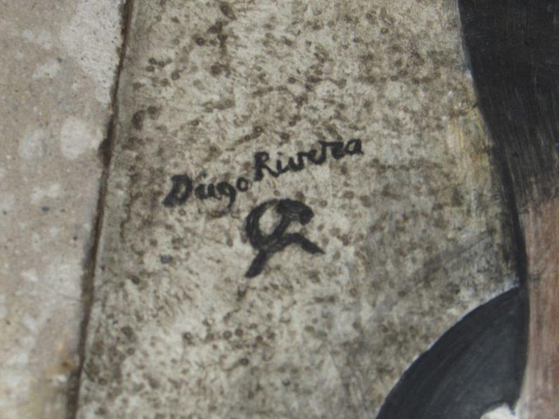 Assinatura de Diego Rivera, com foice e martelo: comunista convicto
