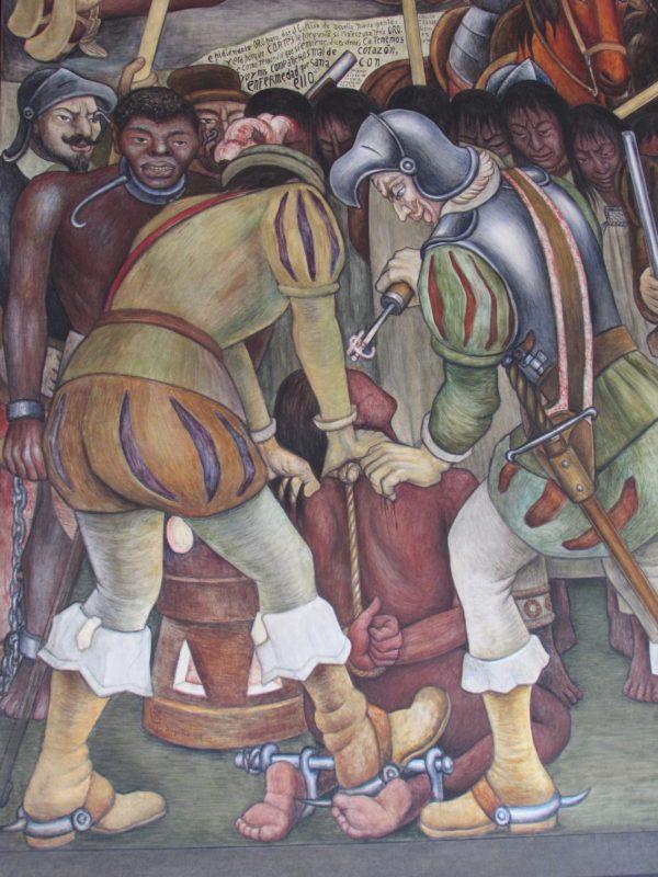 Cena da escravização de nativos americanos por colonizadores espanhóis: retratos do México nos murais de Rivera