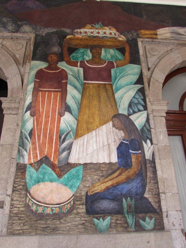Figuras típicas do México em mural de Rivera: pinturas pouco visitadas