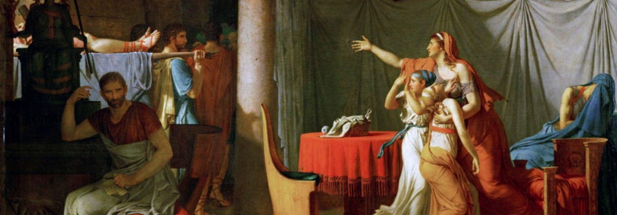 Imagem: Os Litores Levam ao Cônsul Brutus os Corpos de Seus Filhos (David)