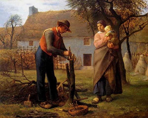 Homme greffant une arbre, de Millet