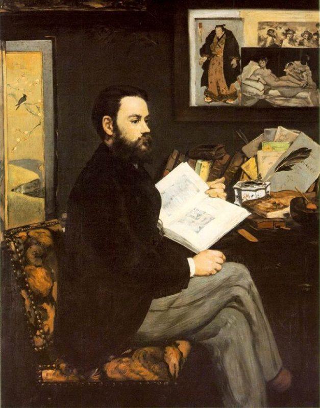 Émile Zola retratado por Édouard Manet