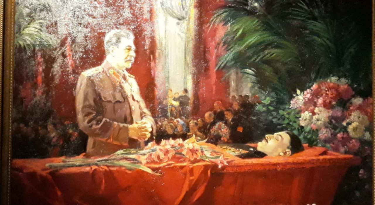 Imagem: Stálin diante do Ataúde de Jdanov (Guerassimov, detalhe)