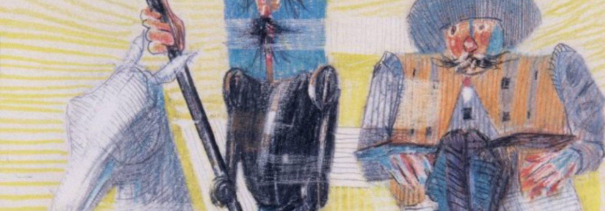 Imagem: Dom Quixote e Sancho Pança Saindo Para as Suas Aventuras (Portinari, 1956, detalhe)