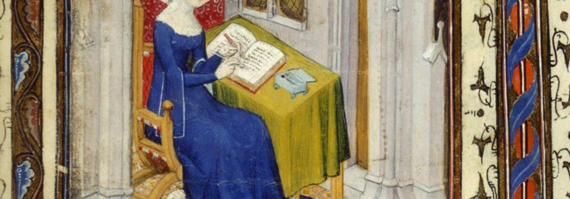 Imagem: miniatura de Christine de Pizan, filósofa e poeta francesa (British Library/reprodução)