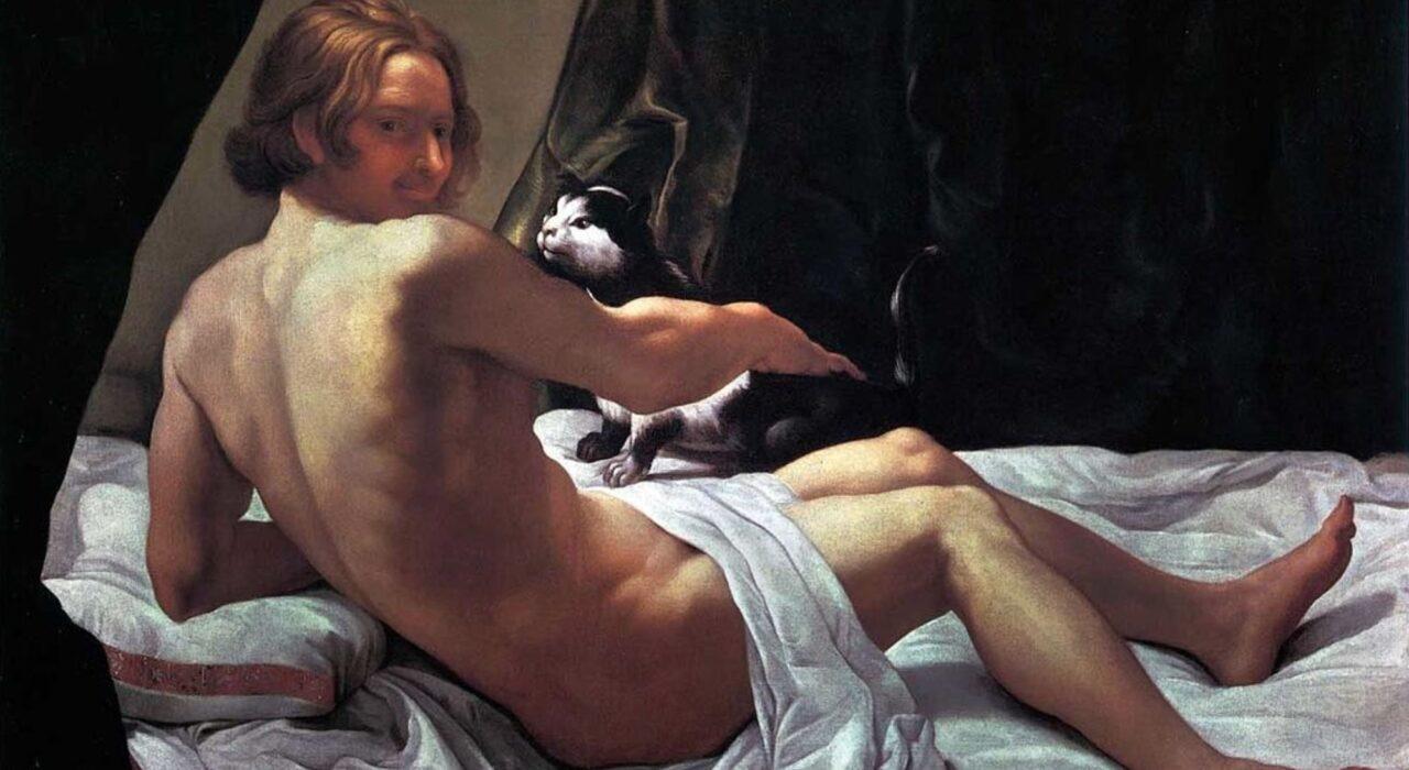 Imagem: Giovanne Nudo sul Letto con un gatto (Giovanni Lanfranco, 1620)